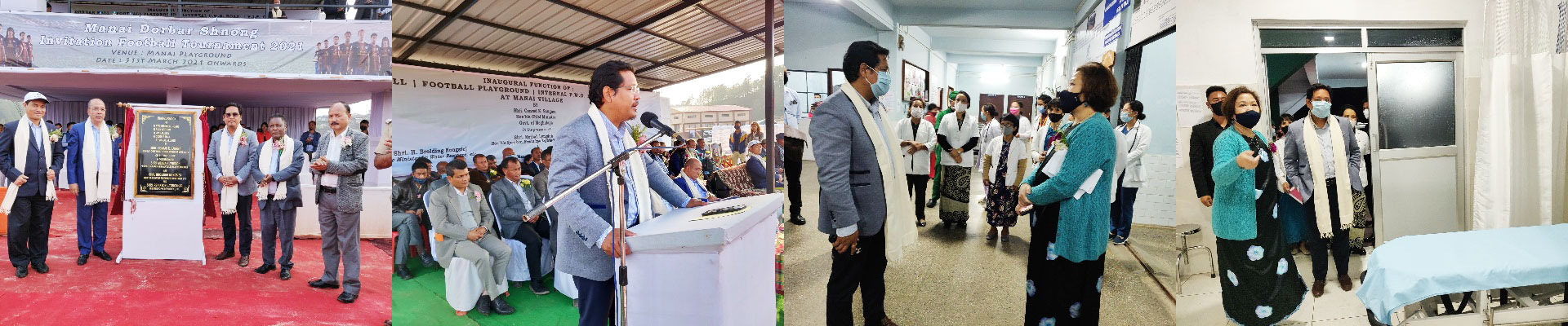 CM inaugurated the Dorbar Hall, Football Playground, Internal PWD Road, VIP Gallery and inspected the U Tirot Sing Hospital at Mairang